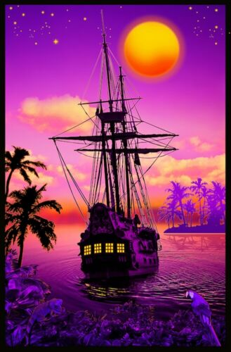 SUNSET COVE - PIRATE SHIP - BLACKLIGHT POSTER - 23X35 FLOCKED 53341