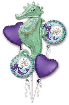 Mermaid Birthday Balloon Bouquet, Mylar Balloons, Party Decoration Ideas, Sirena - Little Mermaid Birthday Party Ideas