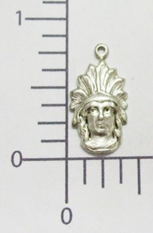 39074 - 6 Pc American Indian Head Jewelry Finding Charm Matte Silver Oxidized