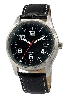 $18.99 - Black Sports Watch Luxury Leather Band Quartz Wrist Men Fashion Analog White