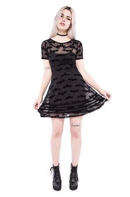 Iron Fist Black Sheer Mesh and Velvet Batty Little Black Dress