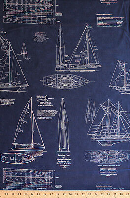 Tall Ships Building Plans Sailboats Sailing Passport Cotton Fabric Print D770.49