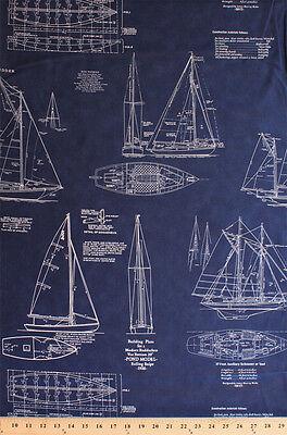 Tall Ships Building Plans Sailboats Sailing Passport Cotton Fabric Print D770.49
