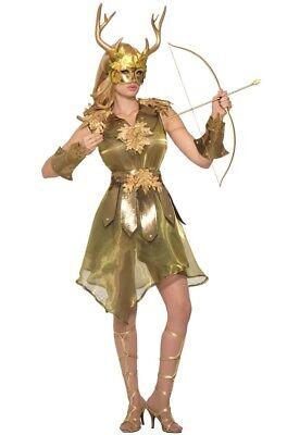 Diana Artemis Göttin der Jagd Damen Kostüm Gold S/M Hirsch Mythologie - Luft Göttin Kostüm