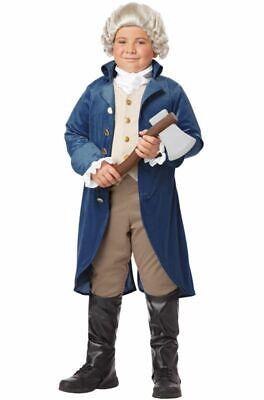 George Washington Costume Child Boys Thomas Jefferson Pioneer Colonial Blue](Colonial Costume For Boys)