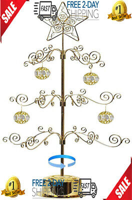 Christmas Ornament Display Tree Rotating Stand Metal Dog Cat Glass Ball Bauble