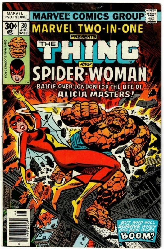 Marvel Two-In-One Comic Book #30 The Thing and Spider-Woman Marvel 1977 FINE+