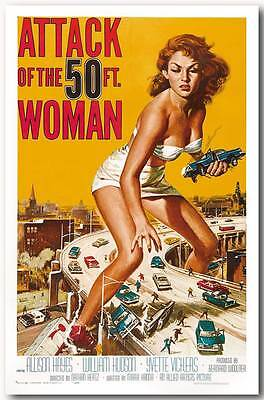 Attack of the 50 ft Woman QUALITY CANVAS PRINT Vintage Movie Poster A1