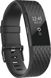 Fitbit - Charge 2 Activity Tracker +Heart Rate (Large)-Black Gunmetal FB407GMBKL