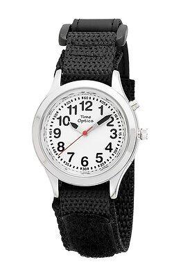 TimeOptics Boy's Talking Silver-Tone Day Date Alarm Nylon Strap Watch # -