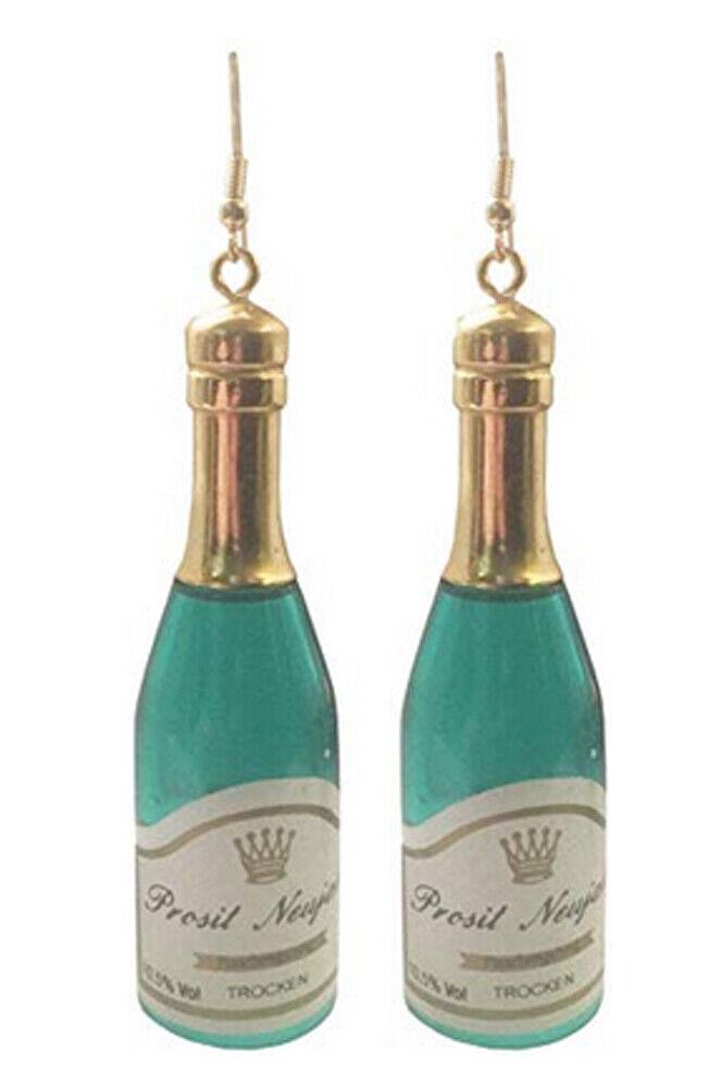 """3"""" Champagne Bottle Earrings, Assembled in U.S.A.  Happy New"""