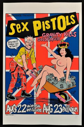 Sex Pistols POSTER Gravity Kills Goldfinger Artist Proof A/P Signed by Coop