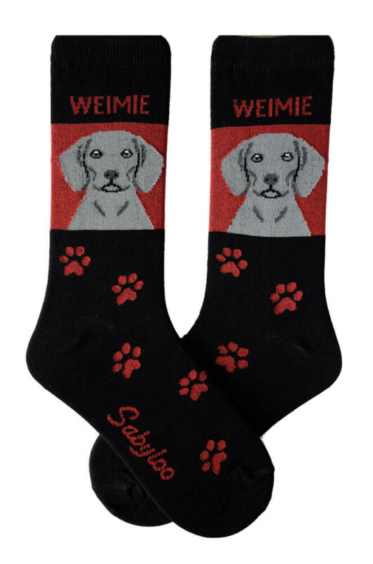 Weimaraner Crew Socks Unisex Red