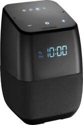 Insignia Voice Smart Bluetooth Speaker, Alarm Clock with Google Assistant Black