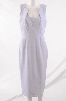 Roland Mouret ash blue 8 M crepe sleeveless pleated sheath dress NEW $1365