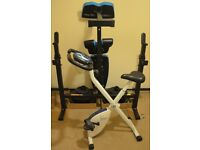weights and bench and excercise bike.