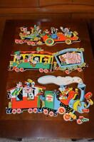 Vintage 50's/60's DISNEY Press-board PIN-UPS: 3-Piece TRAIN SET