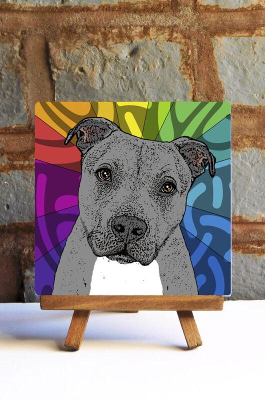 Pitbull Ceramic Coaster Tile Gray