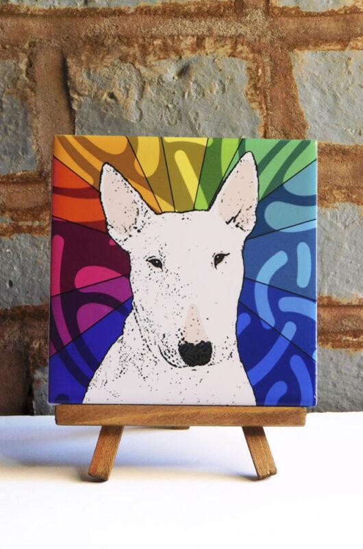 Bull Terrier Ceramic Coaster Tile
