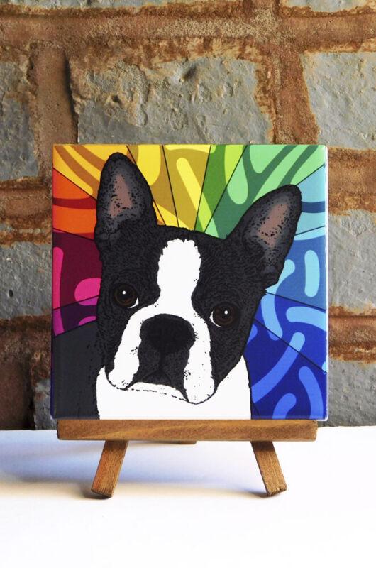 Boston Terrier Ceramic Coaster Tile