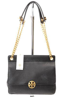Tory Burch Chelsea black pebbled leather flap logo shoulder handbag purse $458