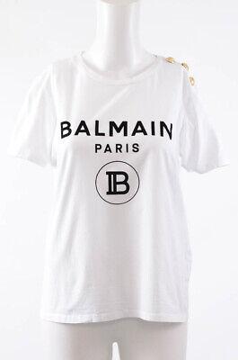 Balmain white 6 S 38 cotton logo button crew neck t-shirt blouse top NEW $395
