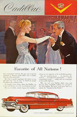 1955 Vintage ad for Cadillac~red/4-door/Glamour lady/white gloves/50's fashion