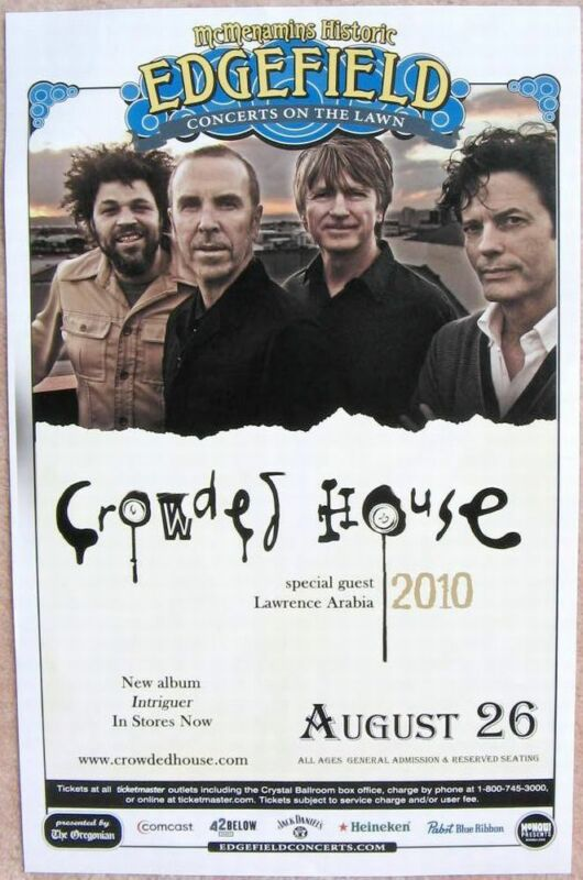 CROWDED HOUSE 2010 Gig POSTER Edgefield Portland Oregon Concert