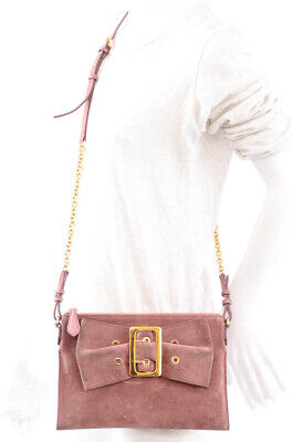 Burberry dark pink suede leather bow buckle chain crossbody handbag purse $795