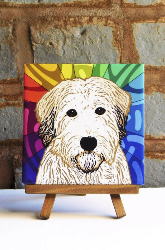 Soft Coated Wheaten Ceramic Coaster Tile