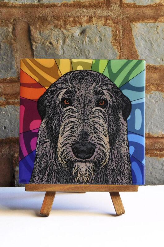 Irish Wolfhound Ceramic Coaster Tile