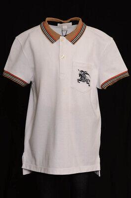 Burberry Children white multi boy 10 stripe logo pocket polo shirt top NEW $110