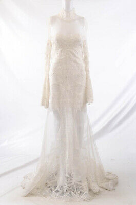 Jonathan Simkhai white 4 S lace sheer mesh trumpet sheath gown dress NEW $2595