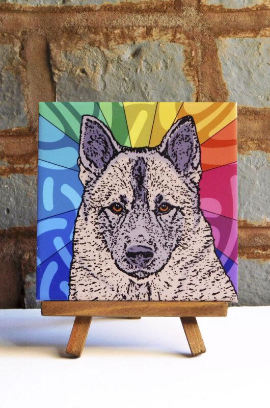 Norwegian Elkhound Ceramic Coaster Tile