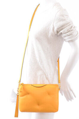 Anya Hindmarch Chubby yellow leather puffy clutch shoulder handbag purse $450