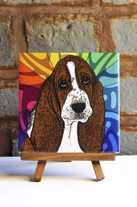 Basset Hound Ceramic Coaster Tile