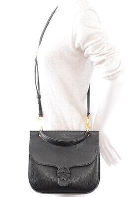 Tory Burch black pebbled leather signature logo crossbody handbag purse $428