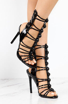 - Strappy Lace Up Open Peep Toe Heels Patent Corset Stiletto Sandals - Black