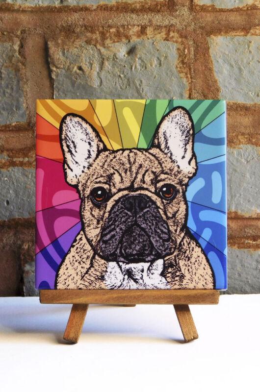 French Bulldog Ceramic Coaster Tile Fawn