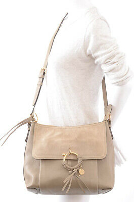 See by Chloe Joan gray suede pebbled leather shoulder handbag purse NEW $510