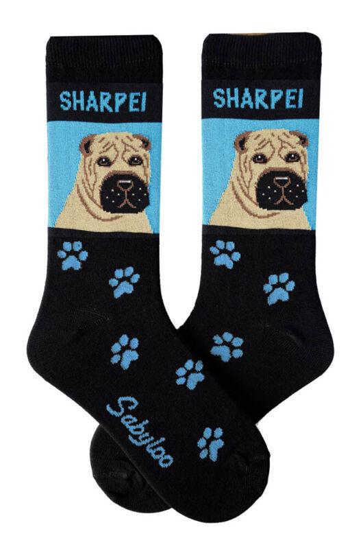 Shar Pei Crew Socks Unisex Blue