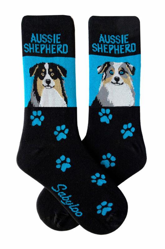 Australian Shepherd Crew Socks Unisex Blue