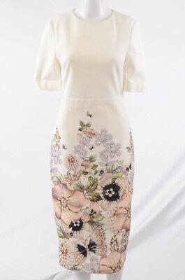 Roland Mouret white 4 S crepe floral print round neck S/S sheath dress $1525