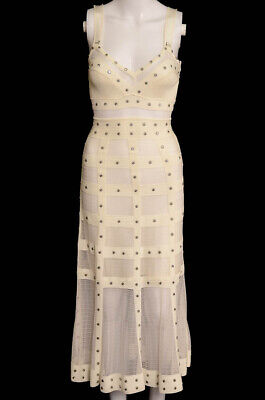 Alexander McQueen ivory XS 0 2 sheer panel embellished A-line dress NEW $4195