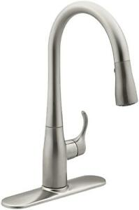 New  Kohler K-597-VS Simplice Pull-Down Secondary Faucet (Vibrant Stainless) Condition: New