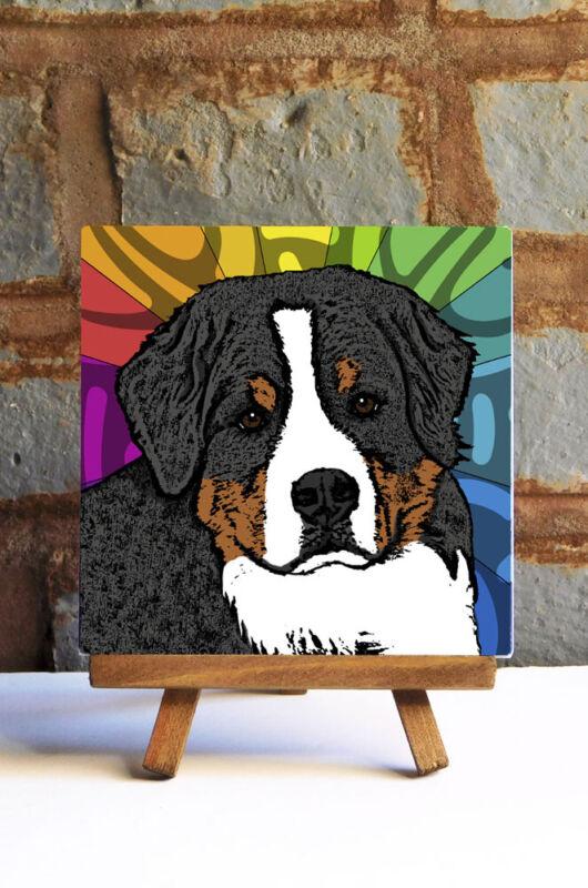Bernese Mountain Dog Ceramic Coaster Tile