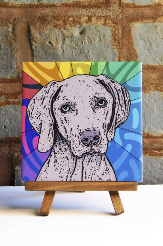 Weimaraner Ceramic Coaster Tile