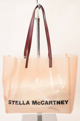 Stella McCartney pink burgundy plastic leather logo tote handbag purse NEW $475