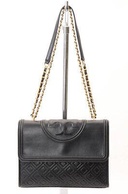 Tory Burch Fleming black quilted convertible logo crossbody handbag purse $495