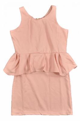 Poof Big Girls Apricot Sleeveless Peplum Dress Size 7/8